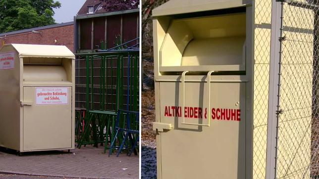 Illegal abgestellte Kleider-Container ohne Möglichkeit der Rückverfolgung und ohne Kennzeichnung einer gemeinnützigen Einrichtung.  Text auf dem Container: Altkleider & Schuhe